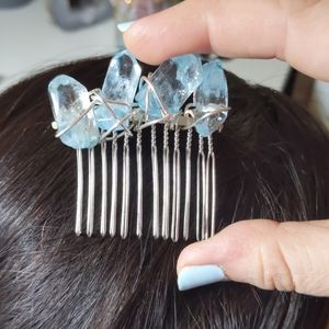 handmade Accessories - Blue crystal hair accessory silver wire wrap comb